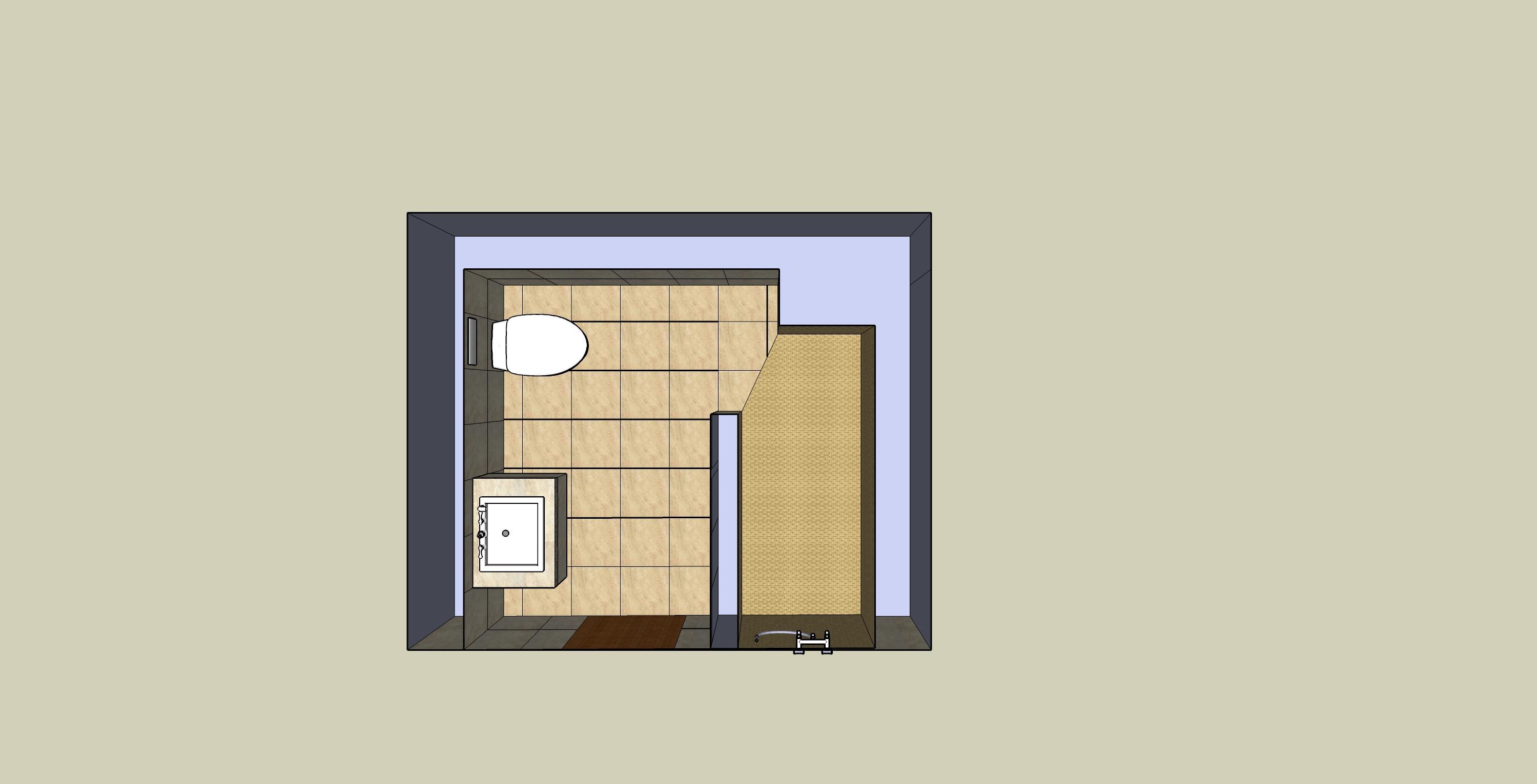 łazienka sketchUp-przekrój1