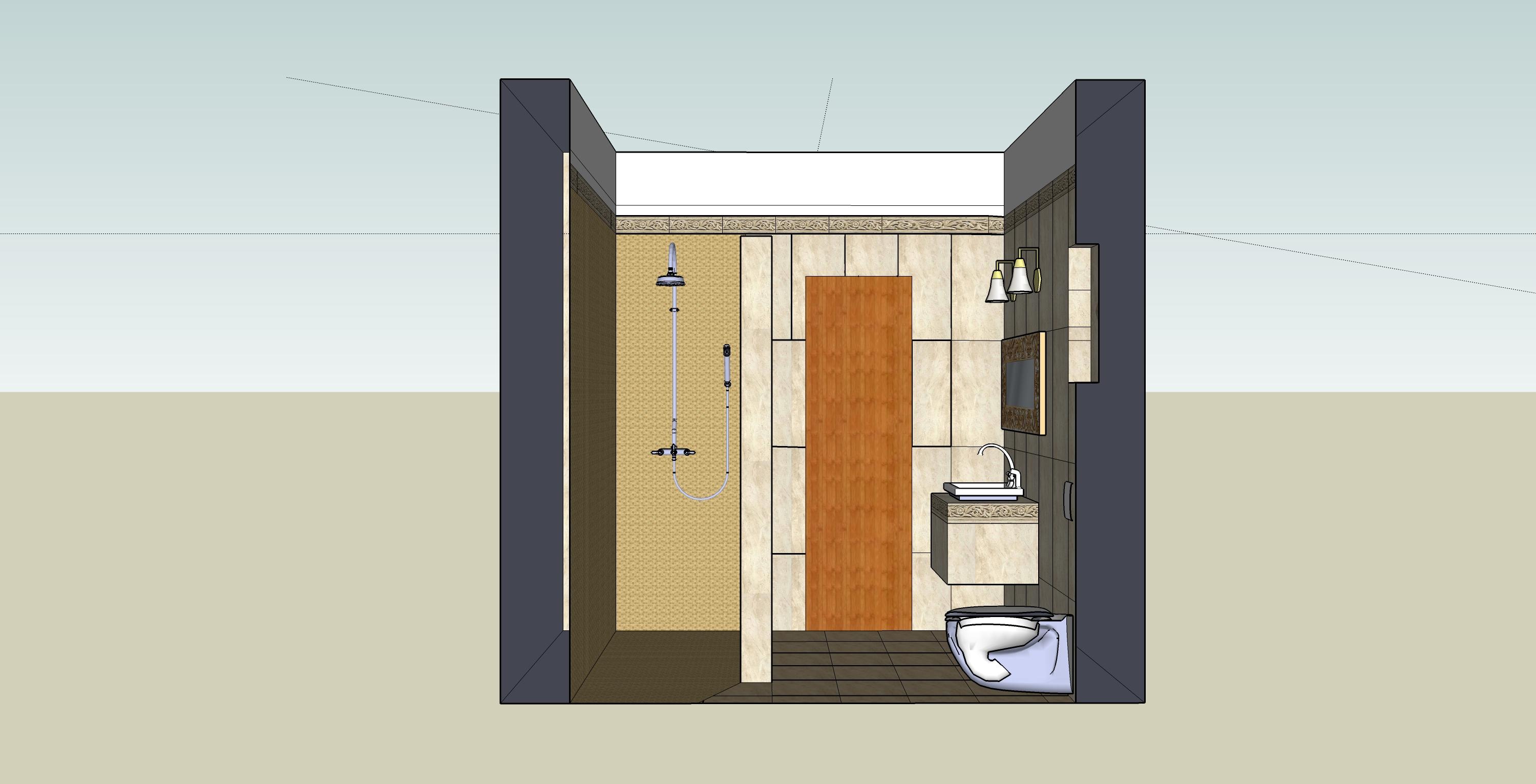 łazienka sketchUp-przekrój2