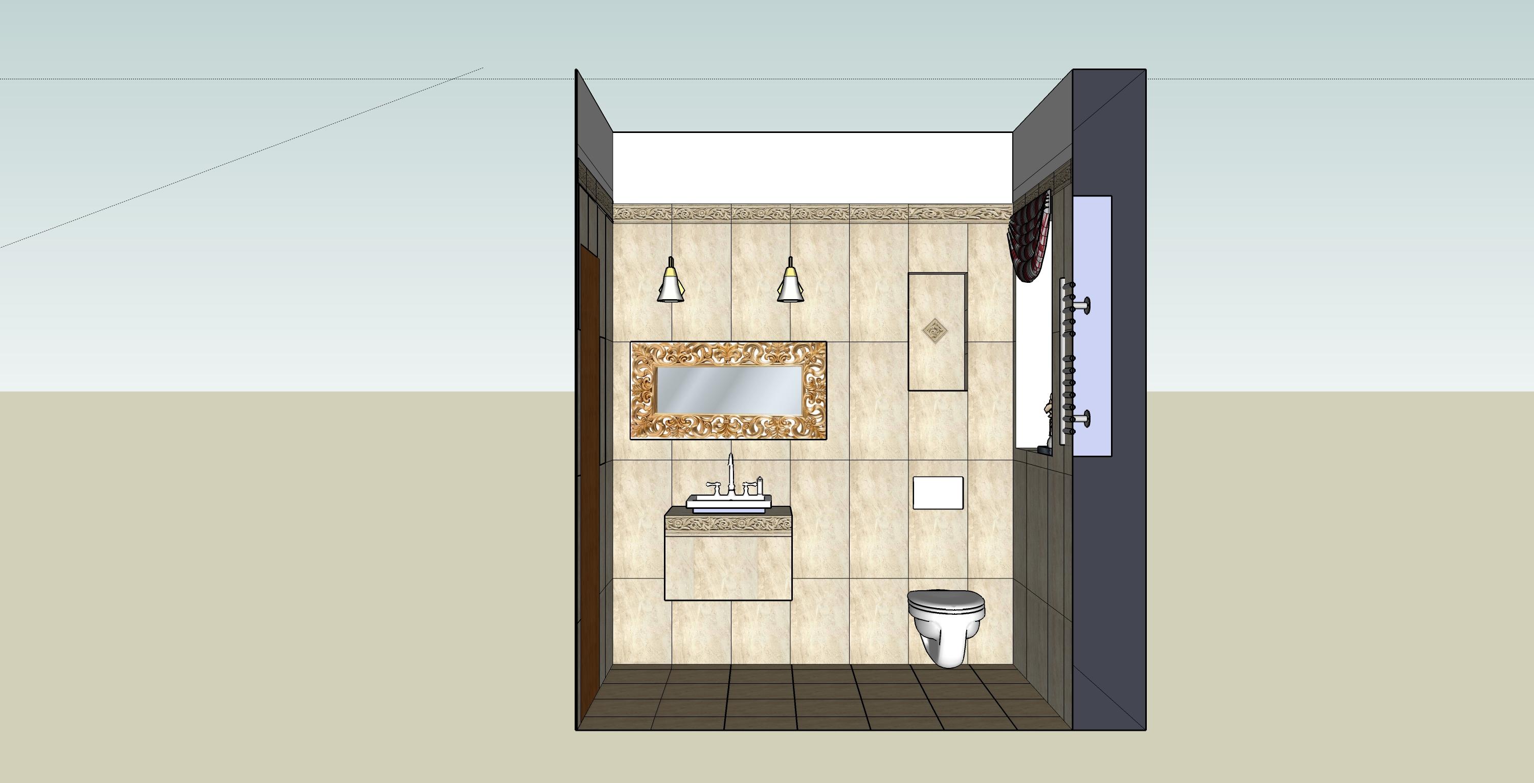 łazienka sketchUp-przekrój3