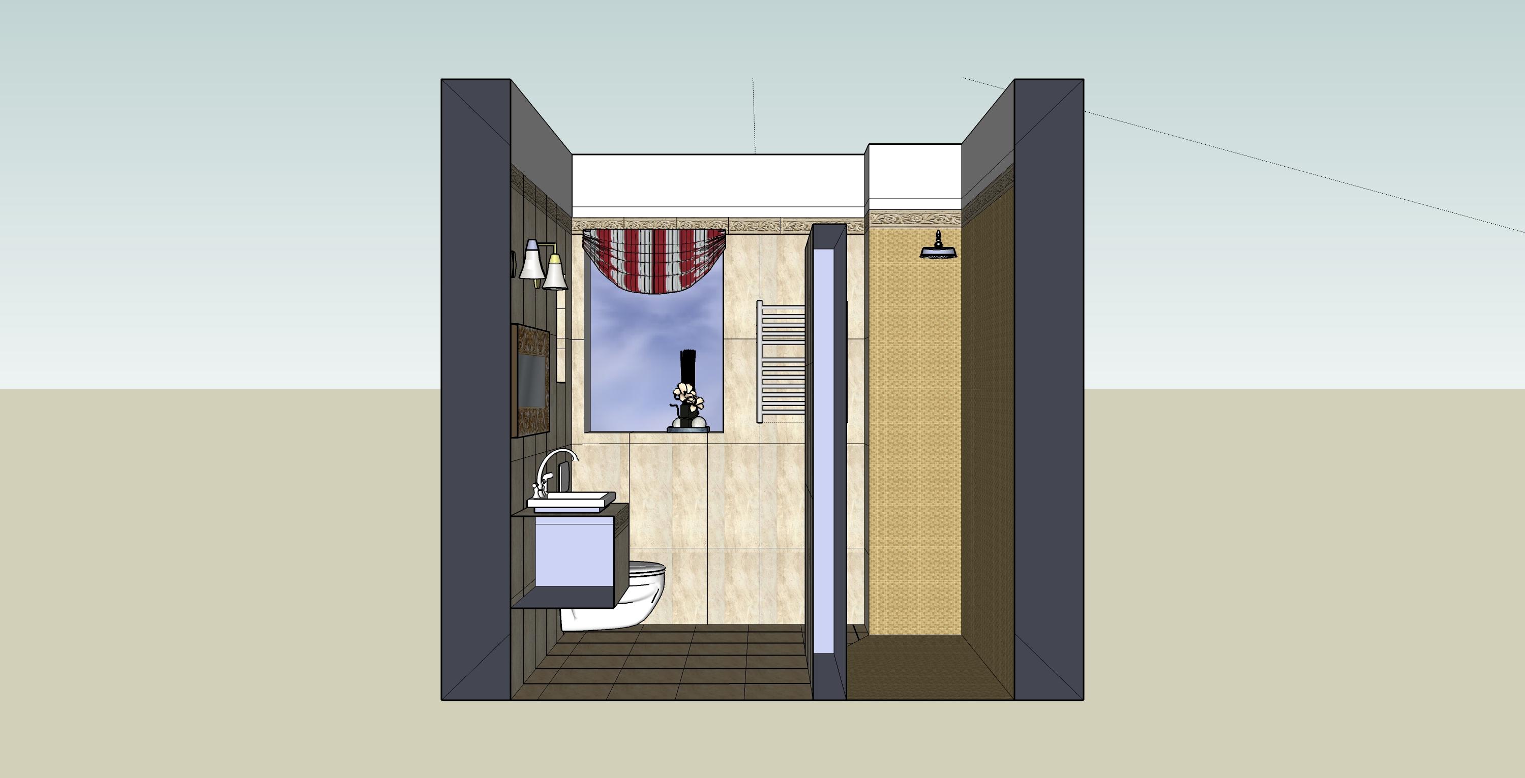 łazienka sketchUp-przekrój4